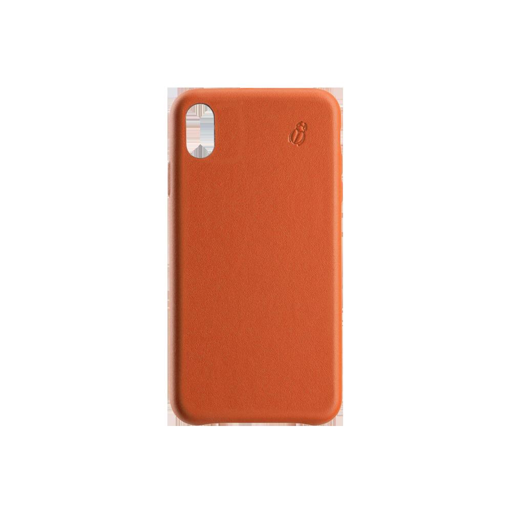 Coque cuir orange Beetlecase iPhone Xs