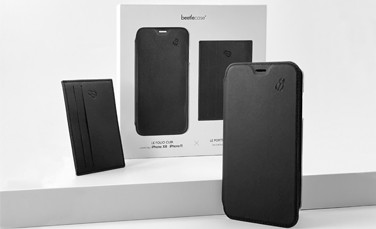 Beetlecase leather pack - Leather folio x Leather card holder for iPhone
